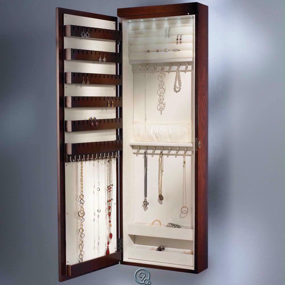 cherry wood 45 inch wall mounted jewelry armoire storage